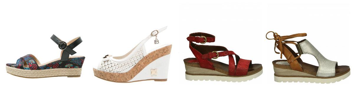 Sandały na koturnie od lewej: Divine Factory, Laura Biagiotti oraz dwa modele z nowej kolekcji Venezia