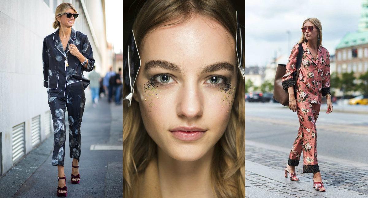 Piżamowe trndy i brokatowy makijaż (zdj. Topshop, Vogue.com, media-cache-ak0.pinimg.com