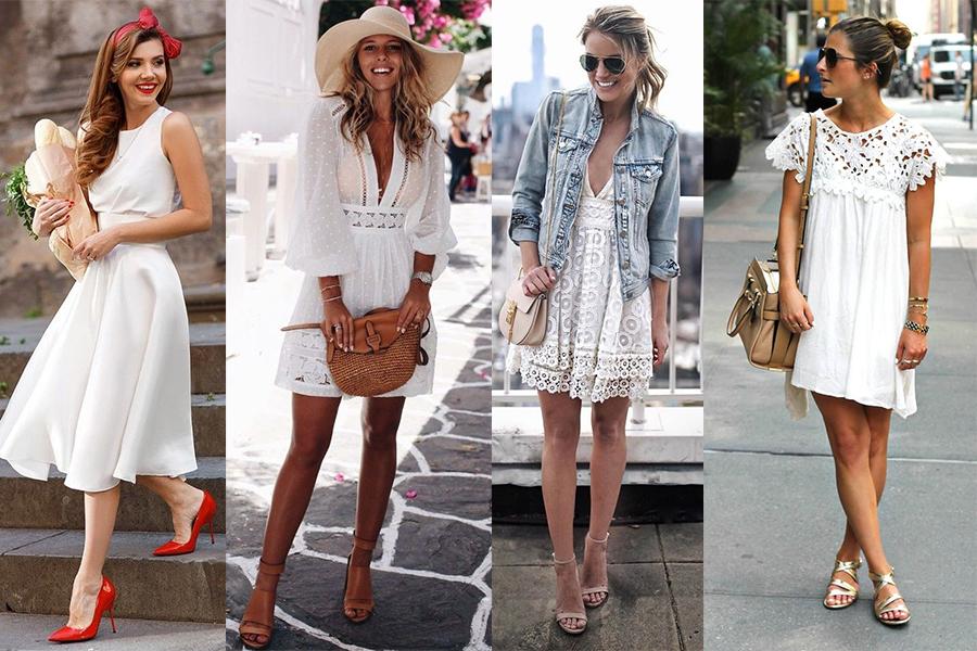 Jakie dodatki do białej sukienki: inspiracje (fot.: Luvv It, buzztendency.com, ShopStyle, To Be Bright)