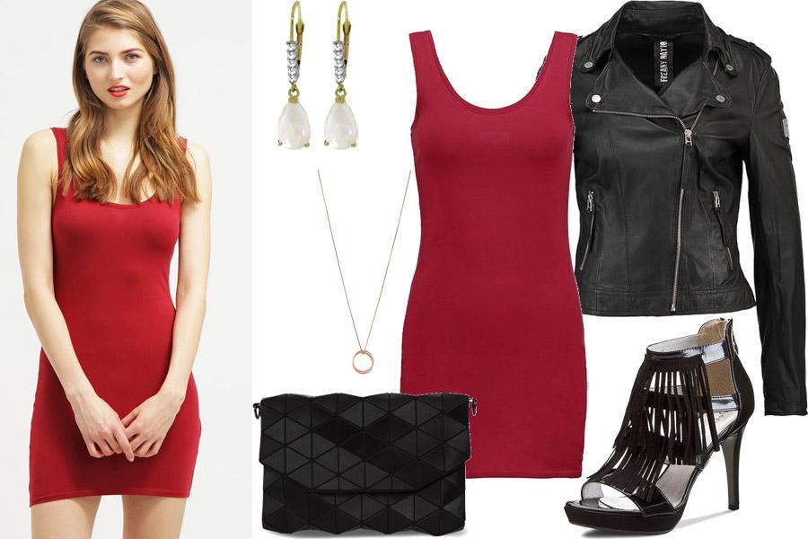 Stylizacja z czerwoną sukienką/Kolaż/Materiały partnera