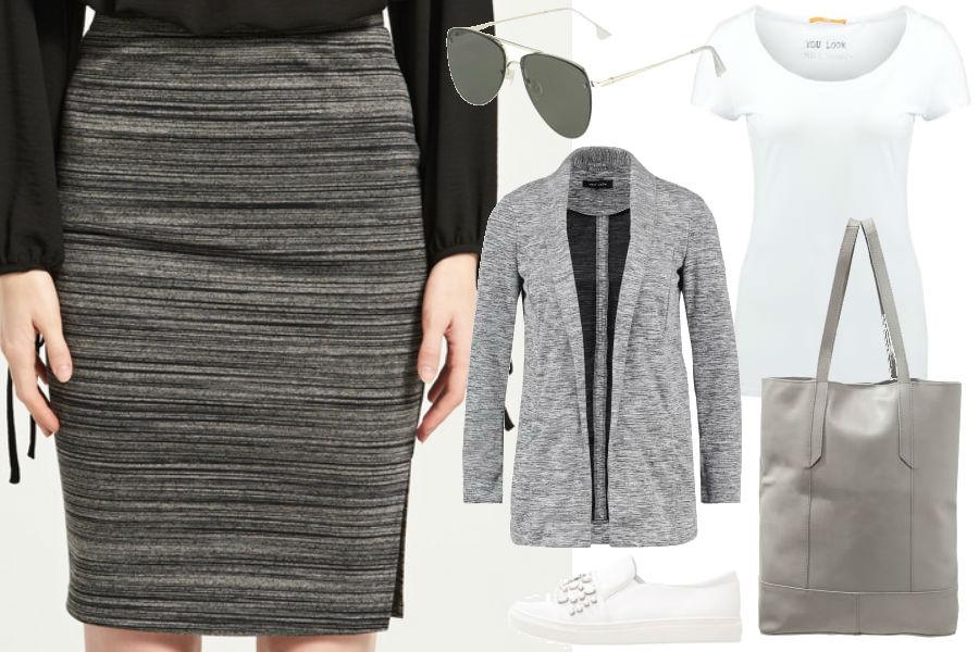fot. jedna spódnica w dwóch stylizacjach/ kolaż