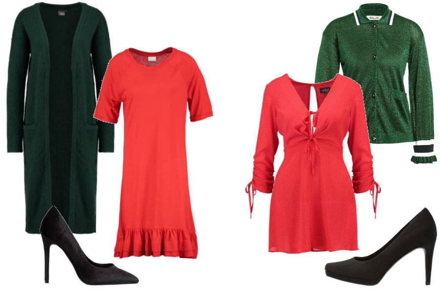fot. czerwona sukienka i zielony kardigan/ kolaż