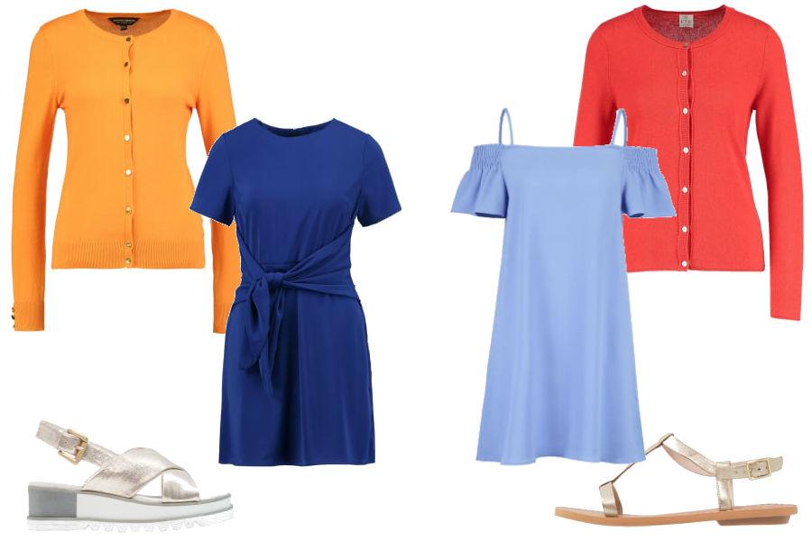 fot. niebieska sukienka i pomarańczowy sweter/ kolaż