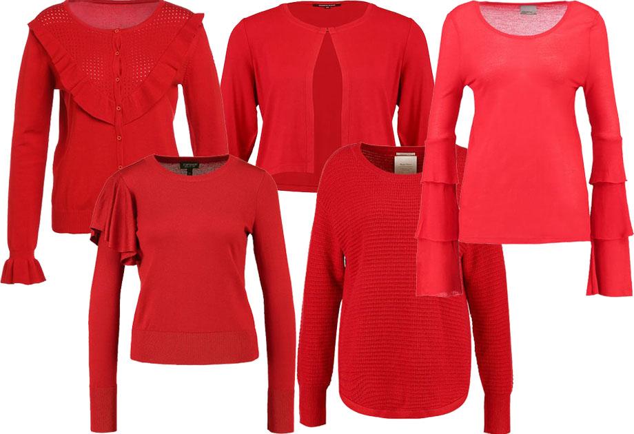 Kolaż / Materiały partnera / czerwone swetry