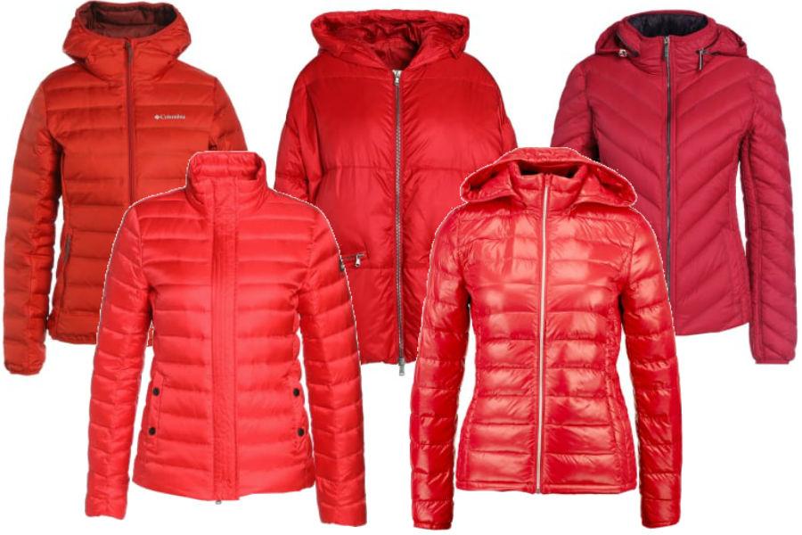 czerwone kurtki puchowe