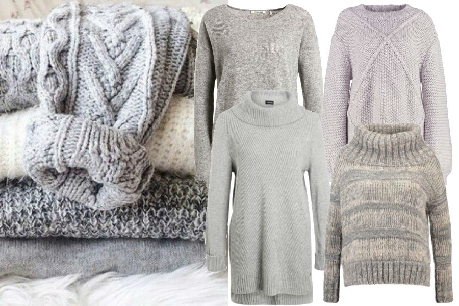 modne szare sweterki