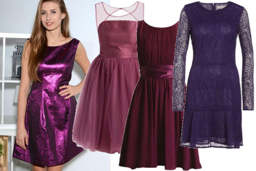 modne sukienki w kolorze fioletowym