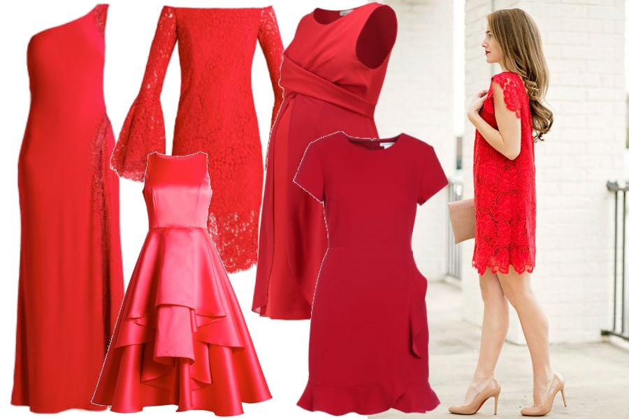 modne sukienki na święta w czerwonym kolorze