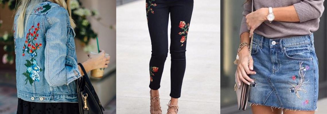 haftowany jeans