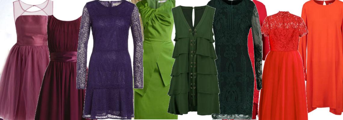 Sukienka w modnym kolorze – czerwień, zieleń i fiolet